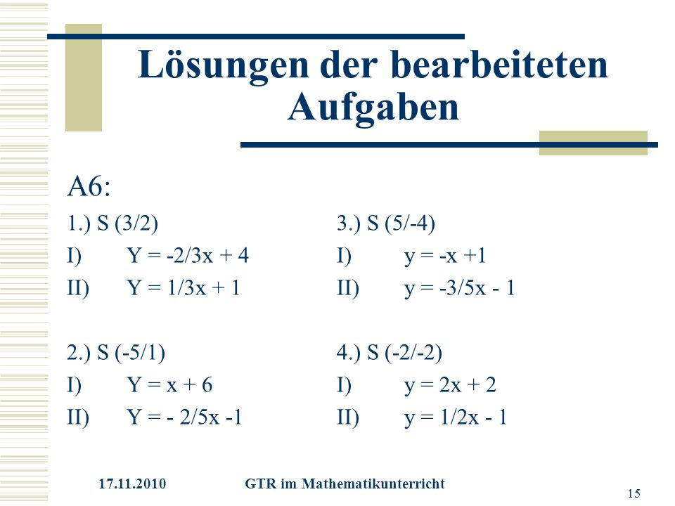 17.11.2010 GTR im Mathematikunterricht 15 Lösungen der bearbeiteten Aufgaben A6: 1.) S (3/2)3.) S (5/-4) I)Y = -2/3x + 4I) y = -x +1 II)Y = 1/3x + 1II)y = -3/5x - 1 2.) S (-5/1)4.) S (-2/-2) I)Y = x + 6I)y = 2x + 2 II)Y = - 2/5x -1II)y = 1/2x - 1