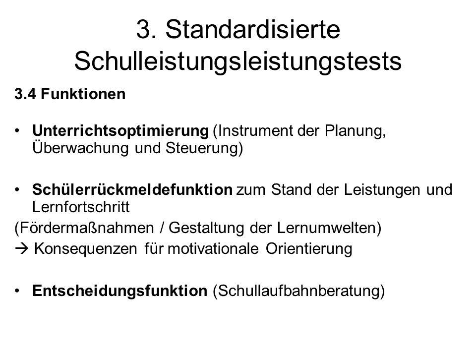 3. Standardisierte Schulleistungsleistungstests 3.4 Funktionen Unterrichtsoptimierung (Instrument der Planung, Überwachung und Steuerung) Schülerrückm