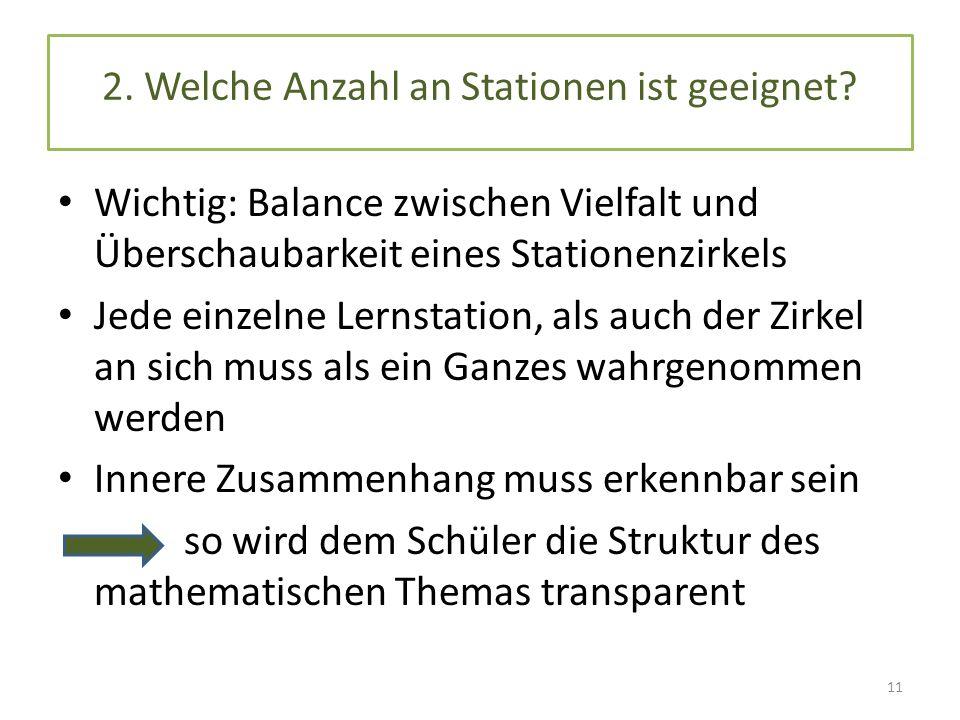 2. Welche Anzahl an Stationen ist geeignet? Wichtig: Balance zwischen Vielfalt und Überschaubarkeit eines Stationenzirkels Jede einzelne Lernstation,