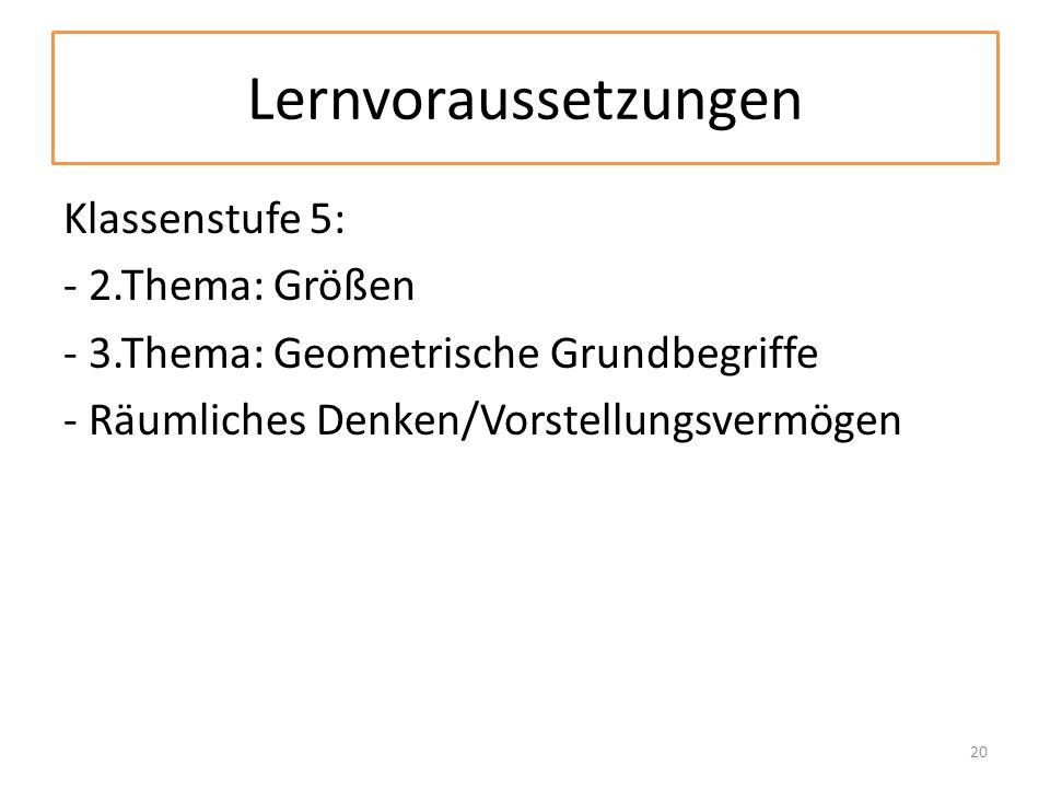 Lernvoraussetzungen Klassenstufe 5: - 2.Thema: Größen - 3.Thema: Geometrische Grundbegriffe - Räumliches Denken/Vorstellungsvermögen 20