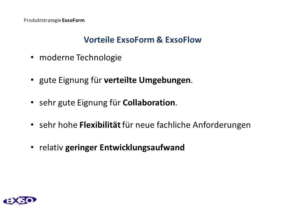 Produktstrategie ExsoForm Vorteile ExsoForm & ExsoFlow moderne Technologie gute Eignung für verteilte Umgebungen. sehr gute Eignung für Collaboration.