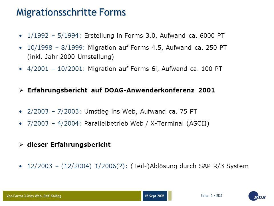 Von Forms 3.0 ins Web, Ralf Kölling 15 Sept 2005 Seite 9 EDS Migrationsschritte Forms 1/1992 – 5/1994: Erstellung in Forms 3.0, Aufwand ca.