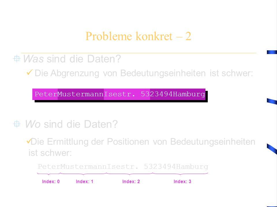  Was sind die Daten? Die Abgrenzung von Bedeutungseinheiten ist schwer: Probleme konkret – 2 Index: 0Index: 1Index: 2Index: 3 PeterMustermannIsestr.