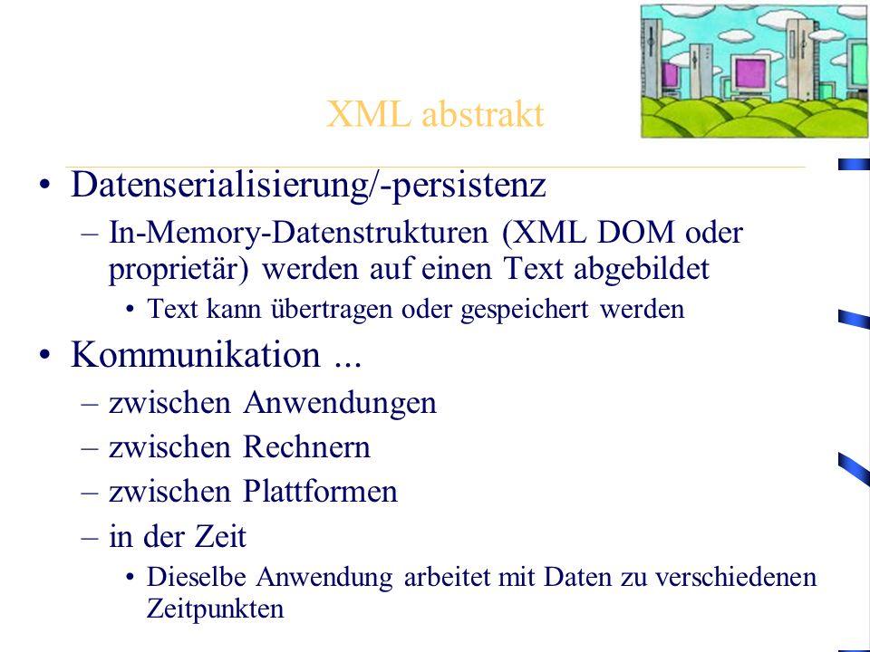 XML abstrakt Datenserialisierung/-persistenz –In-Memory-Datenstrukturen (XML DOM oder proprietär) werden auf einen Text abgebildet Text kann übertrage