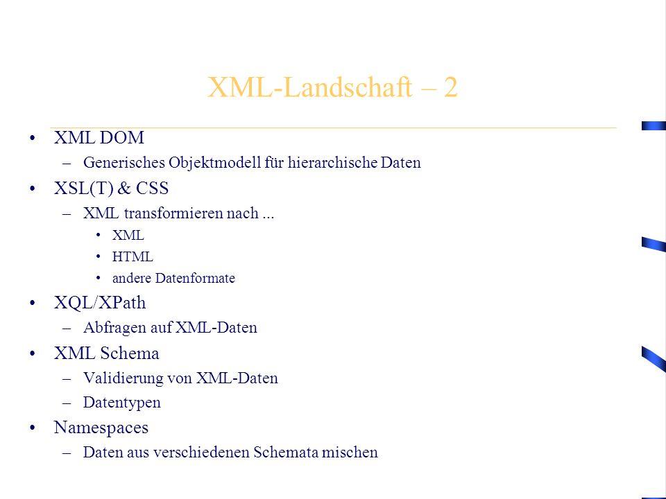 XML-Landschaft – 2 XML DOM –Generisches Objektmodell für hierarchische Daten XSL(T) & CSS –XML transformieren nach... XML HTML andere Datenformate XQL