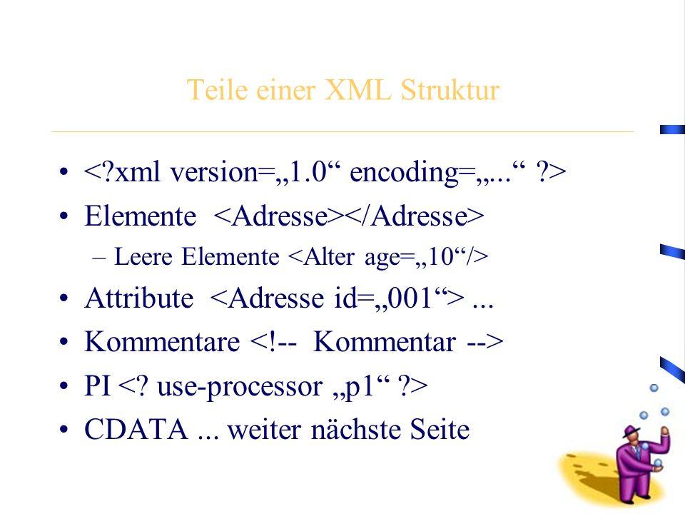 Teile einer XML Struktur Elemente –Leere Elemente Attribute... Kommentare PI CDATA... weiter nächste Seite