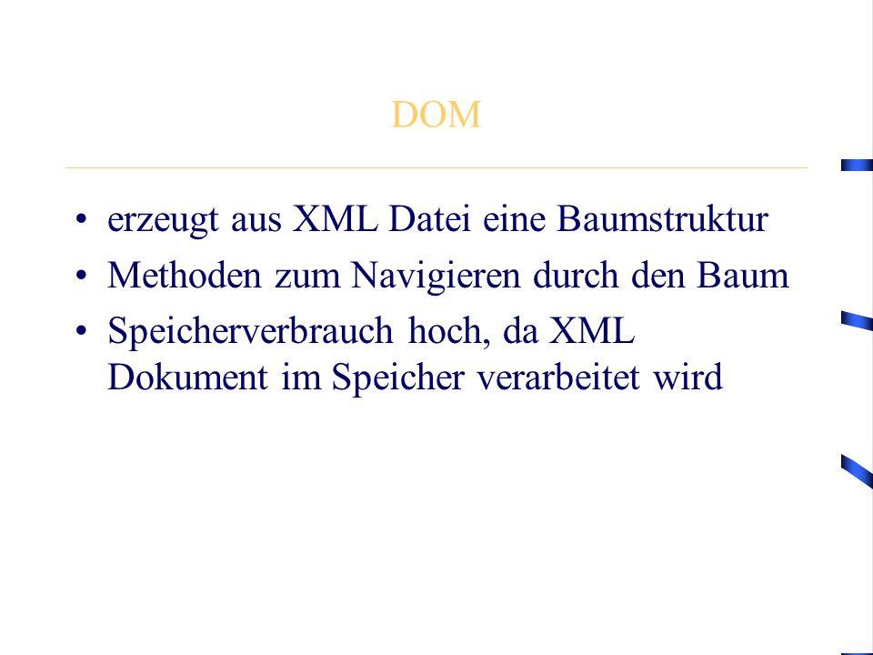 DOM erzeugt aus XML Datei eine Baumstruktur Methoden zum Navigieren durch den Baum Speicherverbrauch hoch, da XML Dokument im Speicher verarbeitet wird