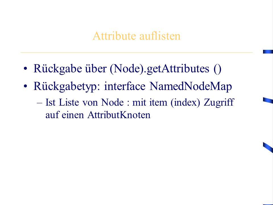Attribute auflisten Rückgabe über (Node).getAttributes () Rückgabetyp: interface NamedNodeMap –Ist Liste von Node : mit item (index) Zugriff auf einen AttributKnoten