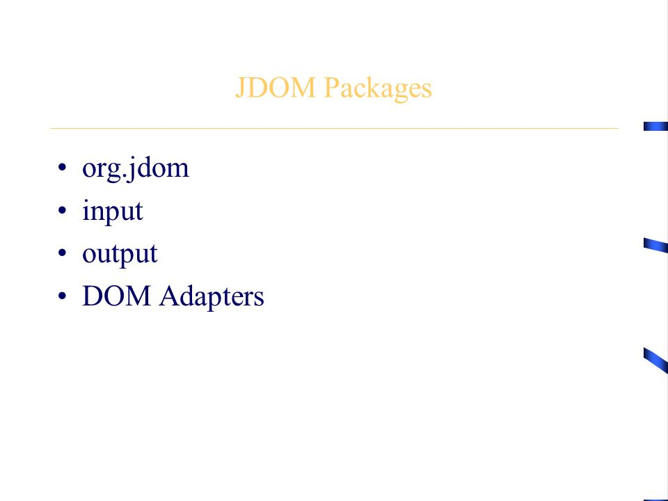 JDOM Packages org.jdom input output DOM Adapters