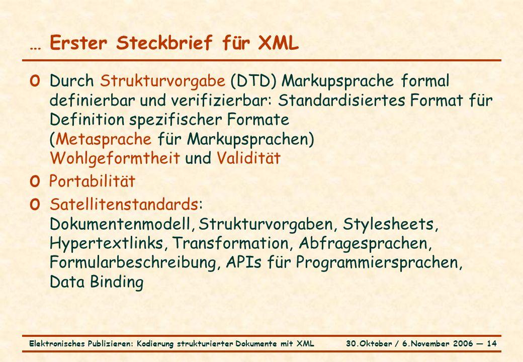 30.Oktober / 6.November 2006 ― 14Elektronisches Publizieren: Kodierung strukturierter Dokumente mit XML … Erster Steckbrief für XML o Durch Strukturvorgabe (DTD) Markupsprache formal definierbar und verifizierbar: Standardisiertes Format für Definition spezifischer Formate (Metasprache für Markupsprachen) Wohlgeformtheit und Validität o Portabilität o Satellitenstandards: Dokumentenmodell, Strukturvorgaben, Stylesheets, Hypertextlinks, Transformation, Abfragesprachen, Formularbeschreibung, APIs für Programmiersprachen, Data Binding