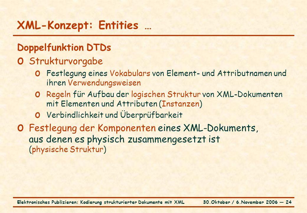 30.Oktober / 6.November 2006 ― 24Elektronisches Publizieren: Kodierung strukturierter Dokumente mit XML XML-Konzept: Entities … Doppelfunktion DTDs o Strukturvorgabe o Festlegung eines Vokabulars von Element- und Attributnamen und ihren Verwendungsweisen o Regeln für Aufbau der logischen Struktur von XML-Dokumenten mit Elementen und Attributen (Instanzen) o Verbindlichkeit und Überprüfbarkeit o Festlegung der Komponenten eines XML-Dokuments, aus denen es physisch zusammengesetzt ist (physische Struktur)