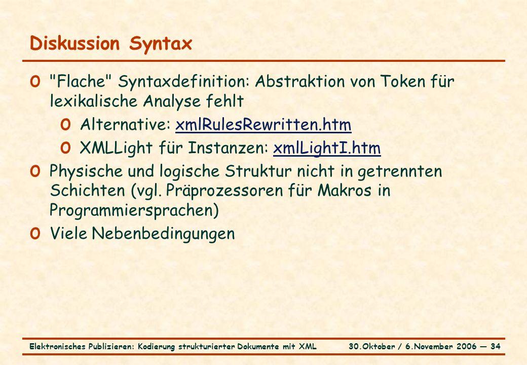 30.Oktober / 6.November 2006 ― 34Elektronisches Publizieren: Kodierung strukturierter Dokumente mit XML Diskussion Syntax o Flache Syntaxdefinition: Abstraktion von Token für lexikalische Analyse fehlt o Alternative: xmlRulesRewritten.htmxmlRulesRewritten.htm o XMLLight für Instanzen: xmlLightI.htmxmlLightI.htm o Physische und logische Struktur nicht in getrennten Schichten (vgl.