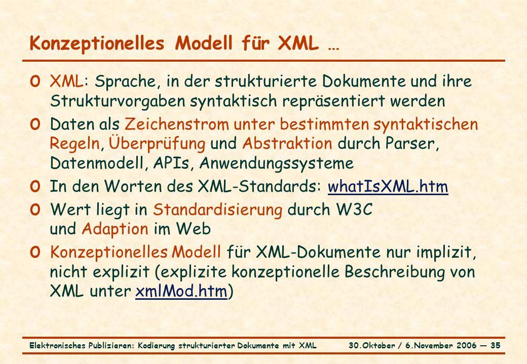 30.Oktober / 6.November 2006 ― 35Elektronisches Publizieren: Kodierung strukturierter Dokumente mit XML Konzeptionelles Modell für XML … o XML: Sprache, in der strukturierte Dokumente und ihre Strukturvorgaben syntaktisch repräsentiert werden o Daten als Zeichenstrom unter bestimmten syntaktischen Regeln, Überprüfung und Abstraktion durch Parser, Datenmodell, APIs, Anwendungssysteme o In den Worten des XML-Standards: whatIsXML.htmwhatIsXML.htm o Wert liegt in Standardisierung durch W3C und Adaption im Web o Konzeptionelles Modell für XML-Dokumente nur implizit, nicht explizit (explizite konzeptionelle Beschreibung von XML unter xmlMod.htm)xmlMod.htm