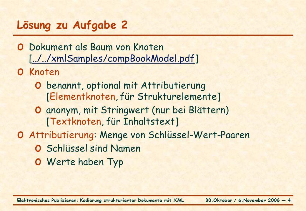 30.Oktober / 6.November 2006 ― 4Elektronisches Publizieren: Kodierung strukturierter Dokumente mit XML Lösung zu Aufgabe 2 o Dokument als Baum von Knoten [../../xmlSamples/compBookModel.pdf]../../xmlSamples/compBookModel.pdf o Knoten o benannt, optional mit Attributierung [Elementknoten, für Strukturelemente] o anonym, mit Stringwert (nur bei Blättern) [Textknoten, für Inhaltstext] o Attributierung: Menge von Schlüssel-Wert-Paaren o Schlüssel sind Namen o Werte haben Typ