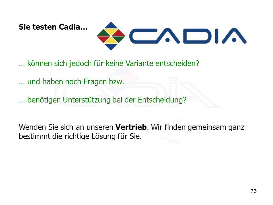 73 Sie testen Cadia… … können sich jedoch für keine Variante entscheiden.