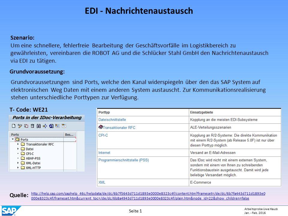 EDI - Nachrichtenaustausch Szenario: Um eine schnellere, fehlerfreie Bearbeitung der Geschäftsvorfälle im Logistikbereich zu gewährleisten, vereinbaren die ROBOT AG und die Schlücker Stahl GmbH den Nachrichtenaustausch via EDI zu tätigen.