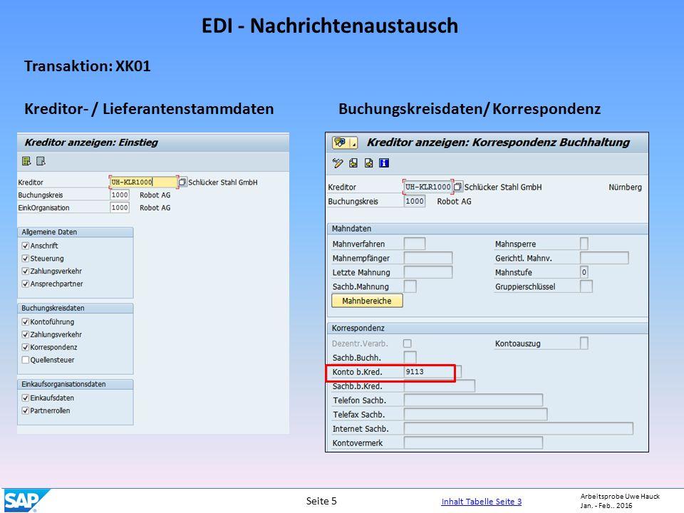 EDI - Nachrichtenaustausch Arbeitsprobe Uwe Hauck Jan.