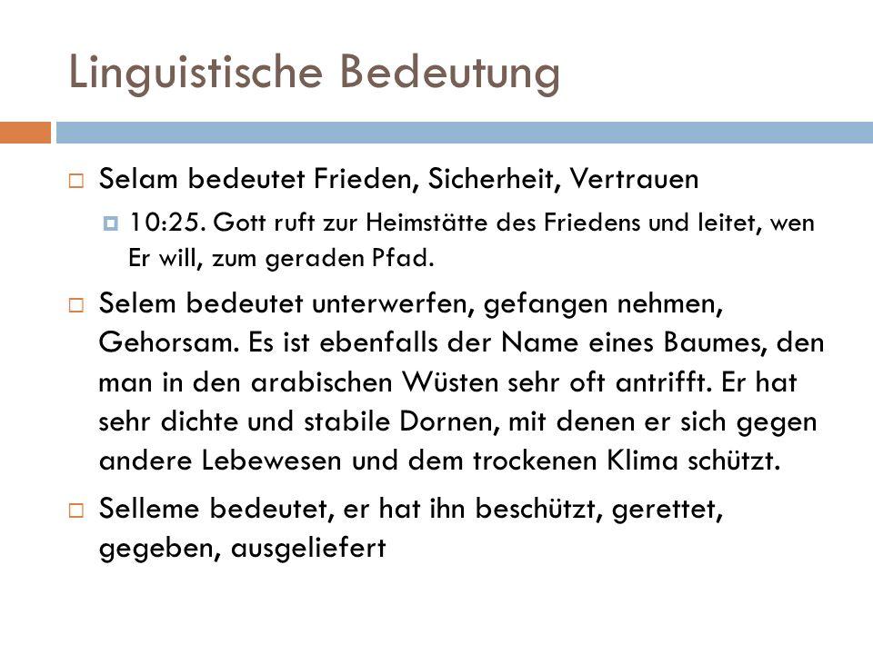Linguistische Bedeutung  Selam bedeutet Frieden, Sicherheit, Vertrauen  10:25. Gott ruft zur Heimstätte des Friedens und leitet, wen Er will, zum ge