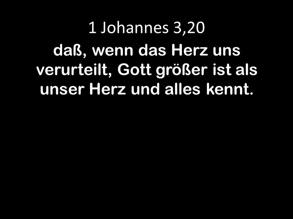 1 Johannes 3,20 daß, wenn das Herz uns verurteilt, Gott größer ist als unser Herz und alles kennt.