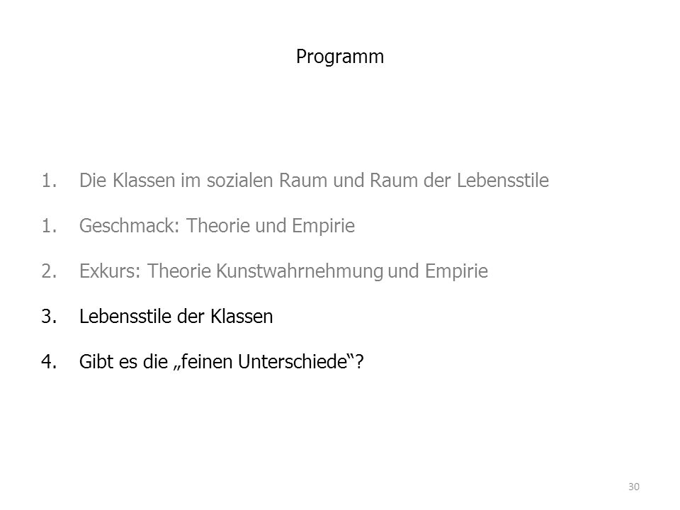 Programm 1.Die Klassen im sozialen Raum und Raum der Lebensstile 1.Geschmack: Theorie und Empirie 2.Exkurs: Theorie Kunstwahrnehmung und Empirie 3.Leb