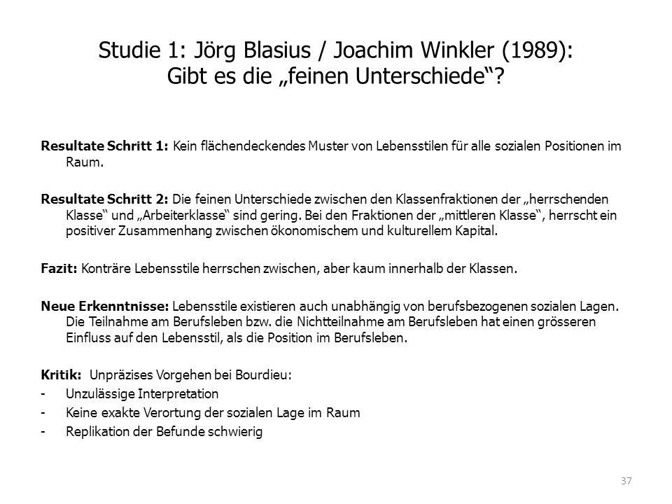 """Studie 1: Jörg Blasius / Joachim Winkler (1989): Gibt es die """"feinen Unterschiede""""? Resultate Schritt 1: Kein flächendeckendes Muster von Lebensstilen"""
