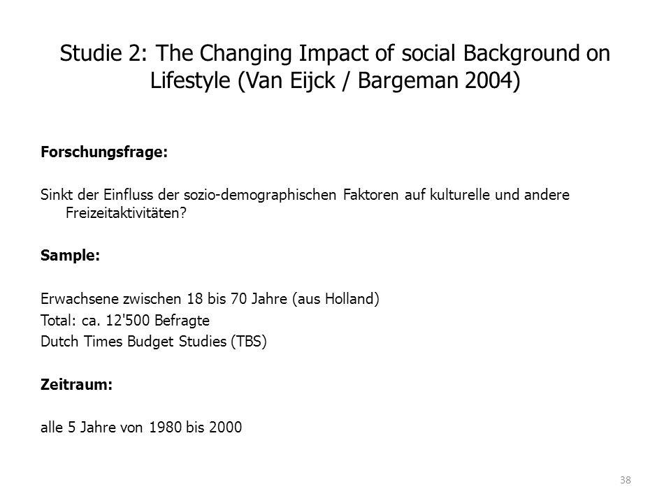Studie 2: The Changing Impact of social Background on Lifestyle (Van Eijck / Bargeman 2004) Forschungsfrage: Sinkt der Einfluss der sozio-demographischen Faktoren auf kulturelle und andere Freizeitaktivitäten.