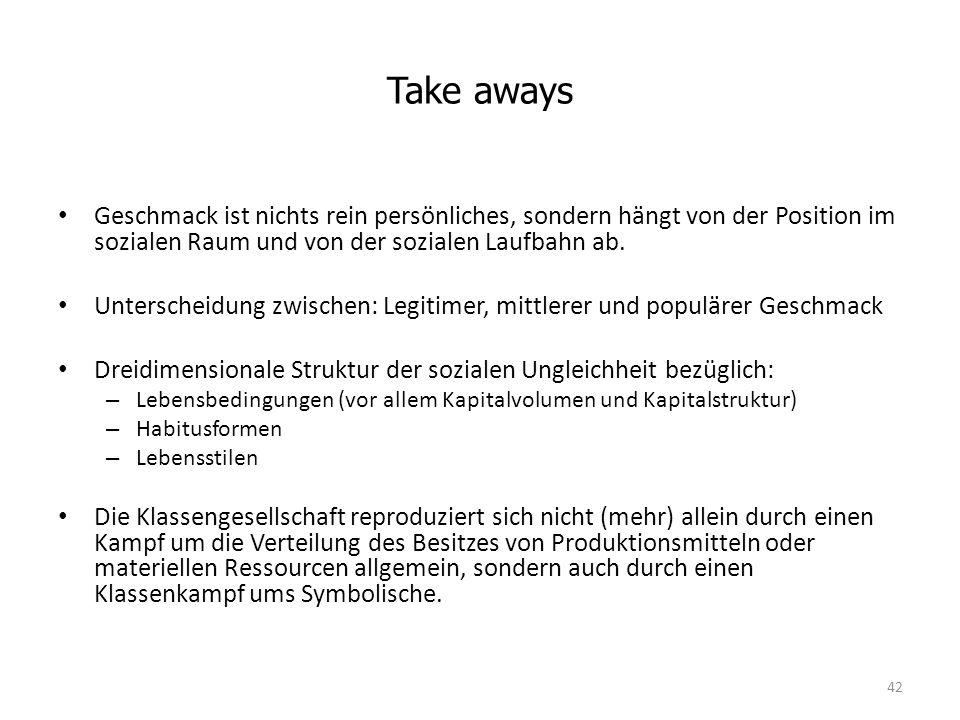 Take aways Geschmack ist nichts rein persönliches, sondern hängt von der Position im sozialen Raum und von der sozialen Laufbahn ab.