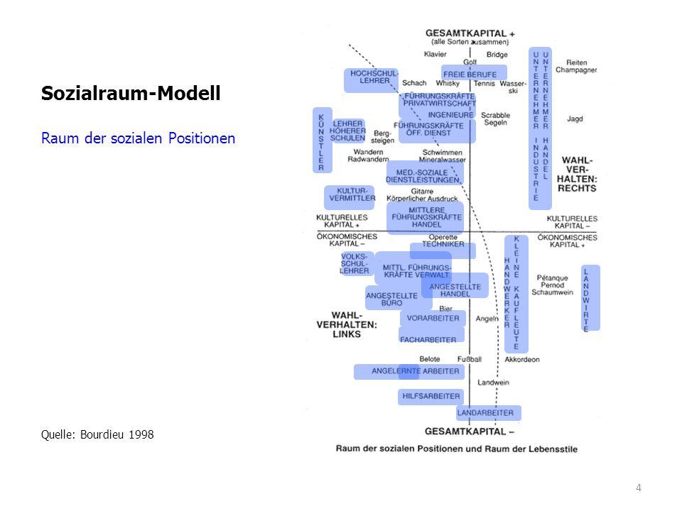"""Sozialraum-Modell Raum der Lebensstile """"repräsentierte soziale Welt Quelle: Bourdieu 1998 5"""