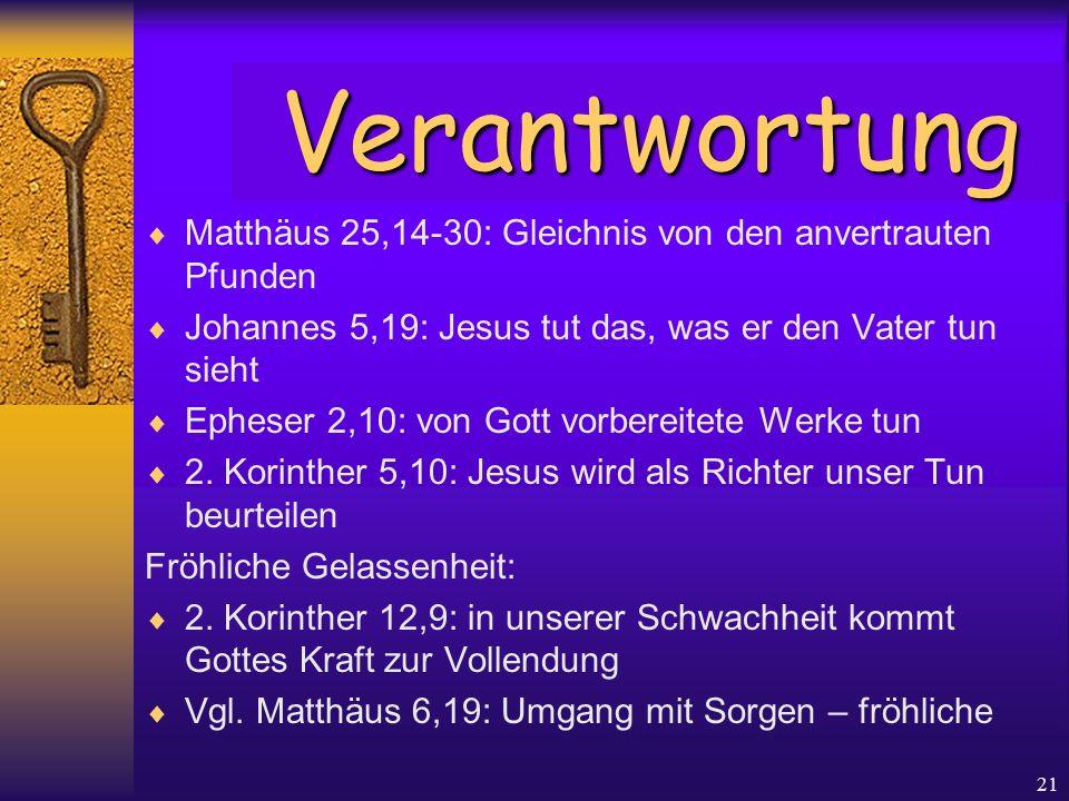 21  Matthäus 25,14-30: Gleichnis von den anvertrauten Pfunden  Johannes 5,19: Jesus tut das, was er den Vater tun sieht  Epheser 2,10: von Gott vor
