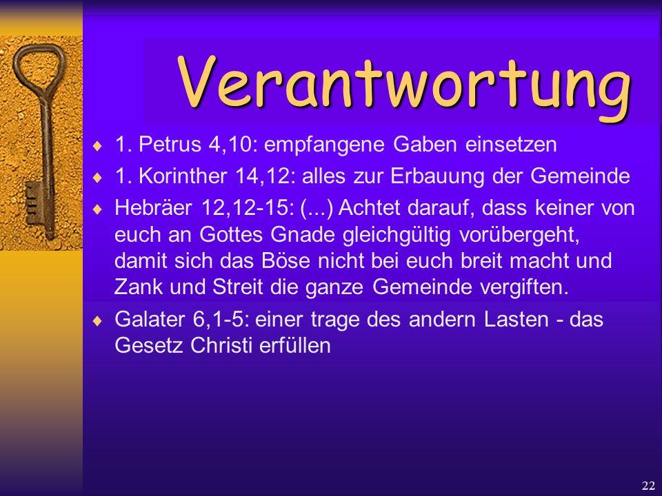 22  1. Petrus 4,10: empfangene Gaben einsetzen  1. Korinther 14,12: alles zur Erbauung der Gemeinde  Hebräer 12,12-15: (...) Achtet darauf, dass ke