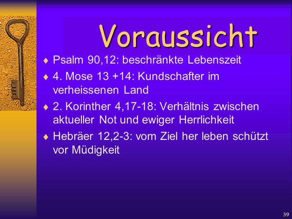 39  Psalm 90,12: beschränkte Lebenszeit  4. Mose 13 +14: Kundschafter im verheissenen Land  2. Korinther 4,17-18: Verhältnis zwischen aktueller Not