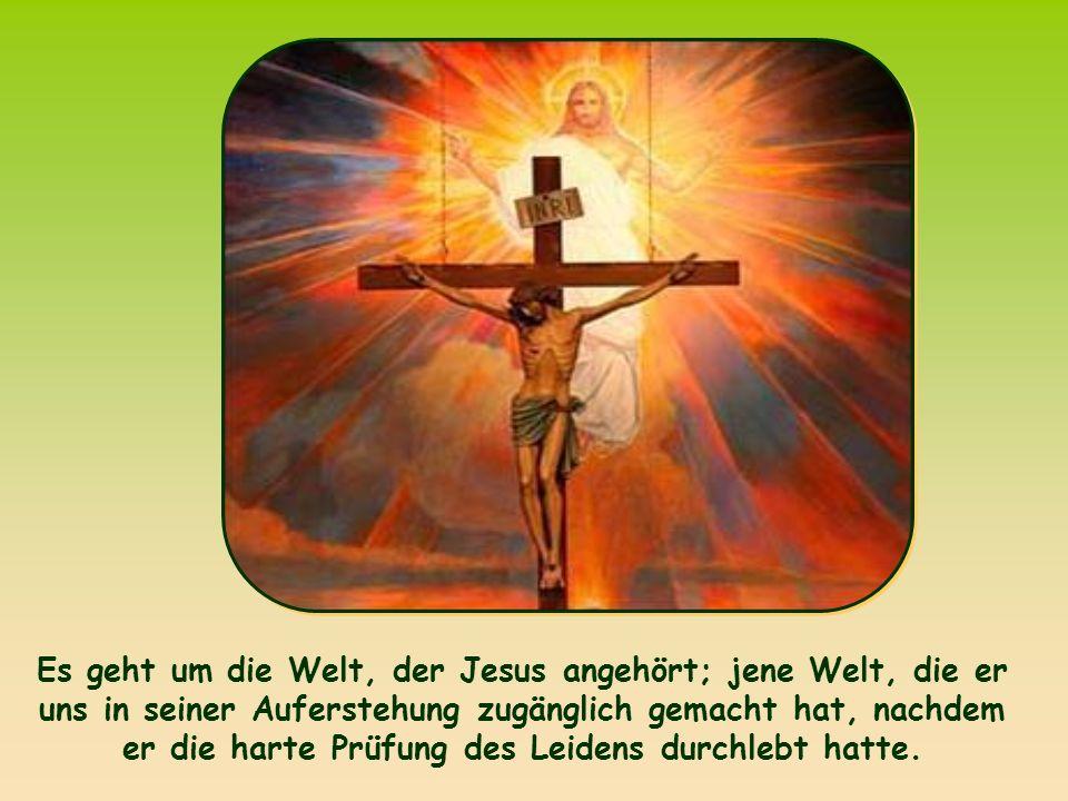 Es geht um die Welt, der Jesus angehört; jene Welt, die er uns in seiner Auferstehung zugänglich gemacht hat, nachdem er die harte Prüfung des Leidens durchlebt hatte.