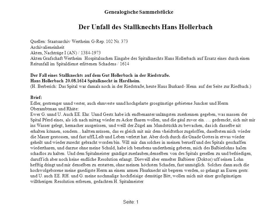 Genealogische Sammelstücke Seite: 1 Quellen: Staatsarchiv Wertheim G-Rep.