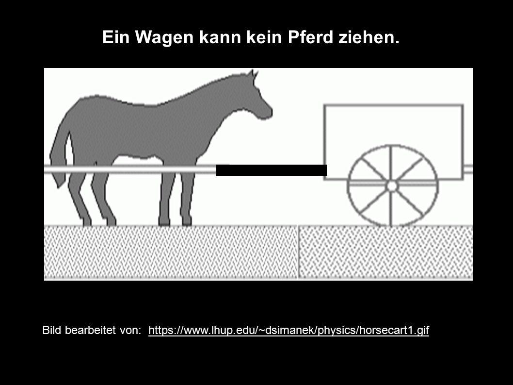 Bild bearbeitet von: https://www.lhup.edu/~dsimanek/physics/horsecart1.gif Ein Wagen kann kein Pferd ziehen.