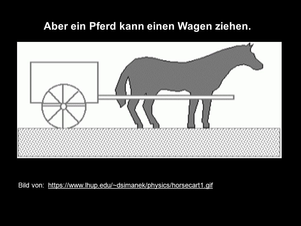Bild von: https://www.lhup.edu/~dsimanek/physics/horsecart1.gif Aber ein Pferd kann einen Wagen ziehen.