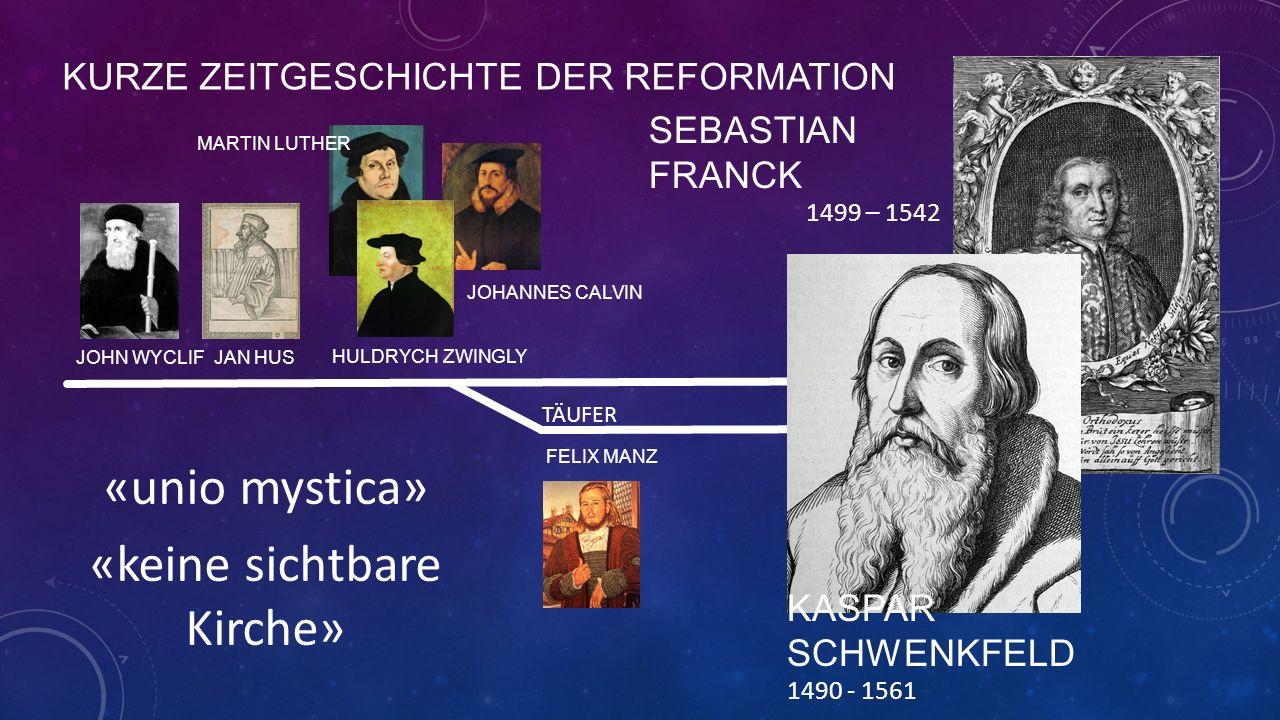 KURZE ZEITGESCHICHTE DER REFORMATION JOHN WYCLIF JAN HUS MARTIN LUTHER HULDRYCH ZWINGLY JOHANNES CALVIN FELIX MANZ TÄUFER SEBASTIAN FRANCK 1499 – 1542