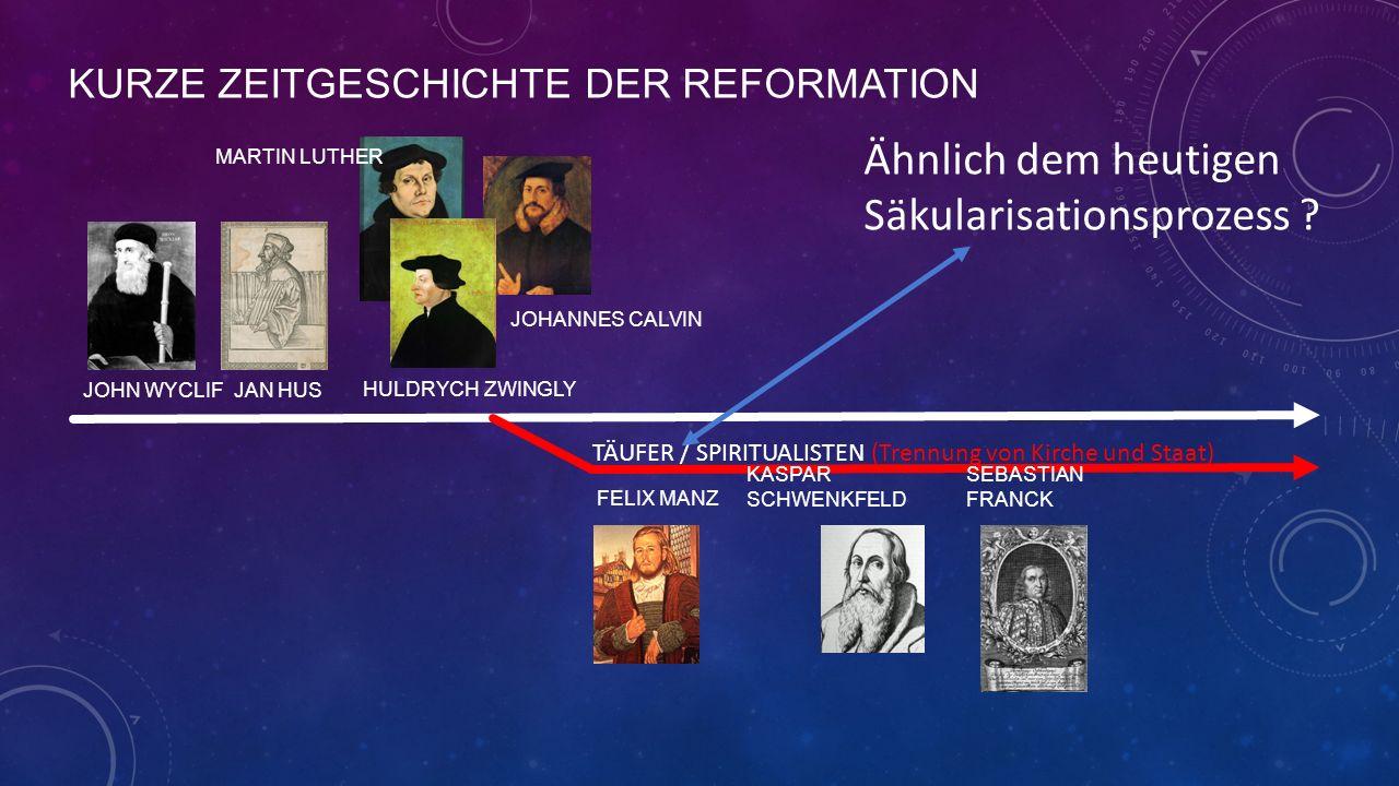 KURZE ZEITGESCHICHTE DER REFORMATION JOHN WYCLIF JAN HUS MARTIN LUTHER HULDRYCH ZWINGLY JOHANNES CALVIN FELIX MANZ TÄUFER / SPIRITUALISTEN (Trennung von Kirche und Staat) SEBASTIAN FRANCK KASPAR SCHWENKFELD Ähnlich dem heutigen Säkularisationsprozess