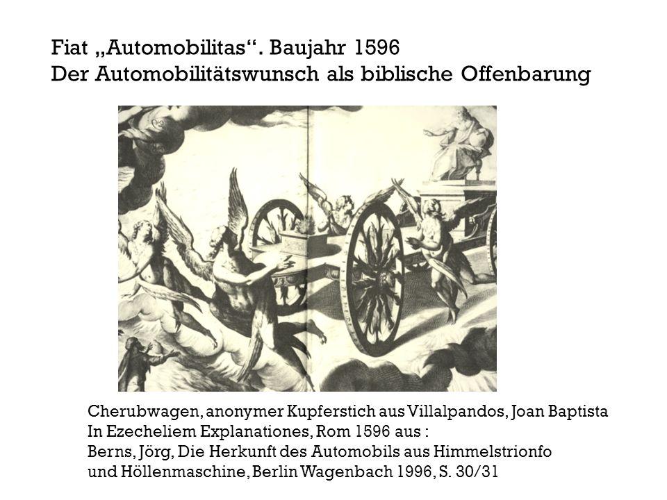 Cherubwagen, anonymer Kupferstich aus Villalpandos, Joan Baptista In Ezecheliem Explanationes, Rom 1596 aus : Berns, Jörg, Die Herkunft des Automobils aus Himmelstrionfo und Höllenmaschine, Berlin Wagenbach 1996, S.