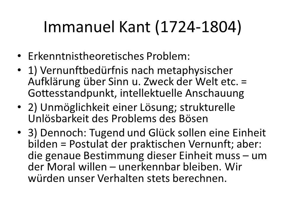 Immanuel Kant (1724-1804) Erkenntnistheoretisches Problem: 1) Vernunftbedürfnis nach metaphysischer Aufklärung über Sinn u.