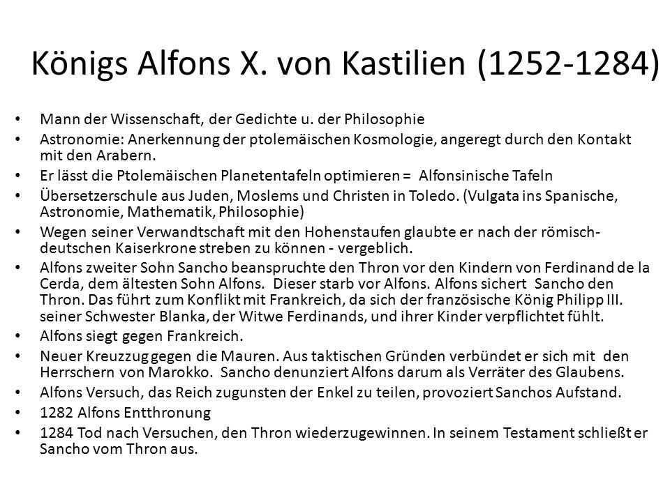 Königs Alfons X. von Kastilien (1252-1284) Mann der Wissenschaft, der Gedichte u.