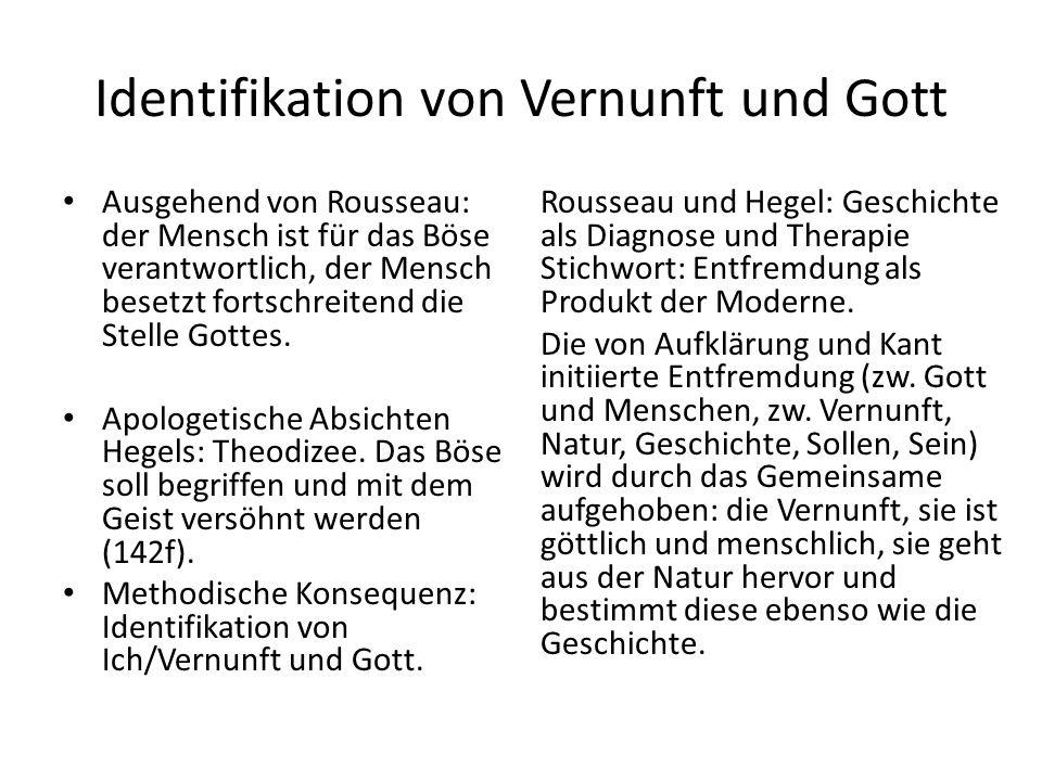 Identifikation von Vernunft und Gott Ausgehend von Rousseau: der Mensch ist für das Böse verantwortlich, der Mensch besetzt fortschreitend die Stelle Gottes.