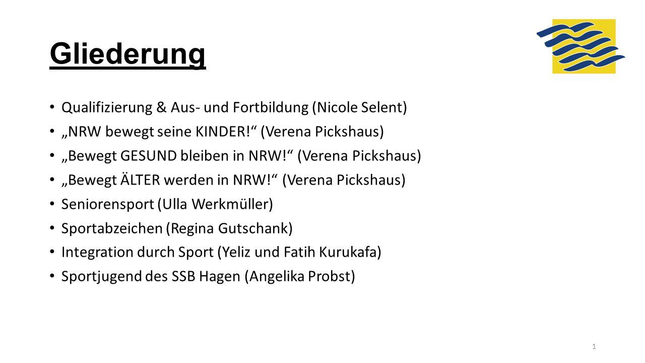 """Gliederung Qualifizierung & Aus- und Fortbildung (Nicole Selent) """"NRW bewegt seine KINDER!"""" (Verena Pickshaus) """"Bewegt GESUND bleiben in NRW!"""" (Verena"""