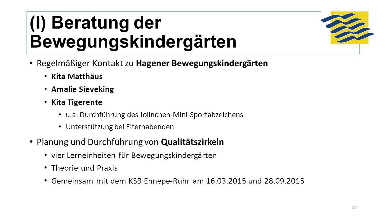 (I) Beratung der Bewegungskindergärten Regelmäßiger Kontakt zu Hagener Bewegungskindergärten Kita Matthäus Amalie Sieveking Kita Tigerente u.a.