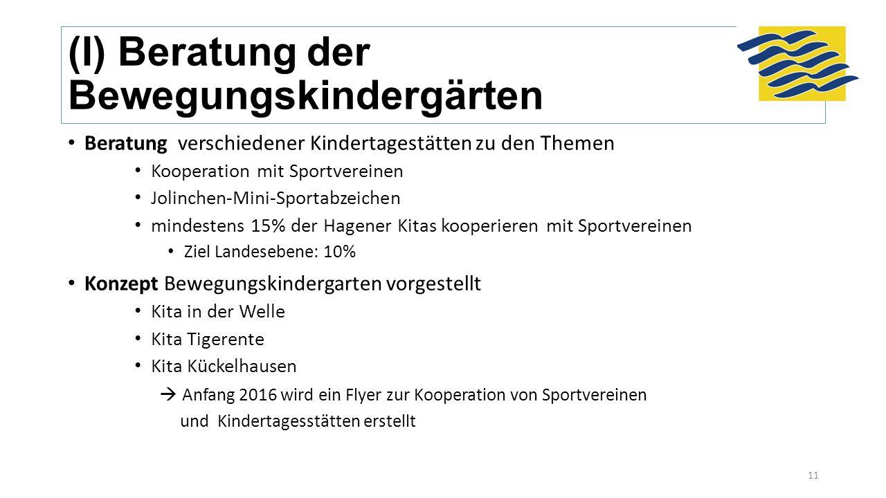 (I) Beratung der Bewegungskindergärten Beratung verschiedener Kindertagestätten zu den Themen Kooperation mit Sportvereinen Jolinchen-Mini-Sportabzeic