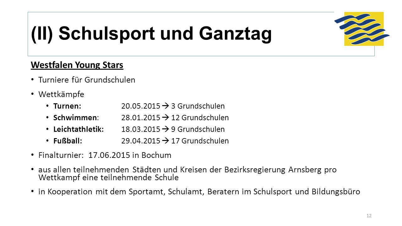 (II) Schulsport und Ganztag Westfalen Young Stars Turniere für Grundschulen Wettkämpfe Turnen:20.05.2015  3 Grundschulen Schwimmen:28.01.2015  12 Gr