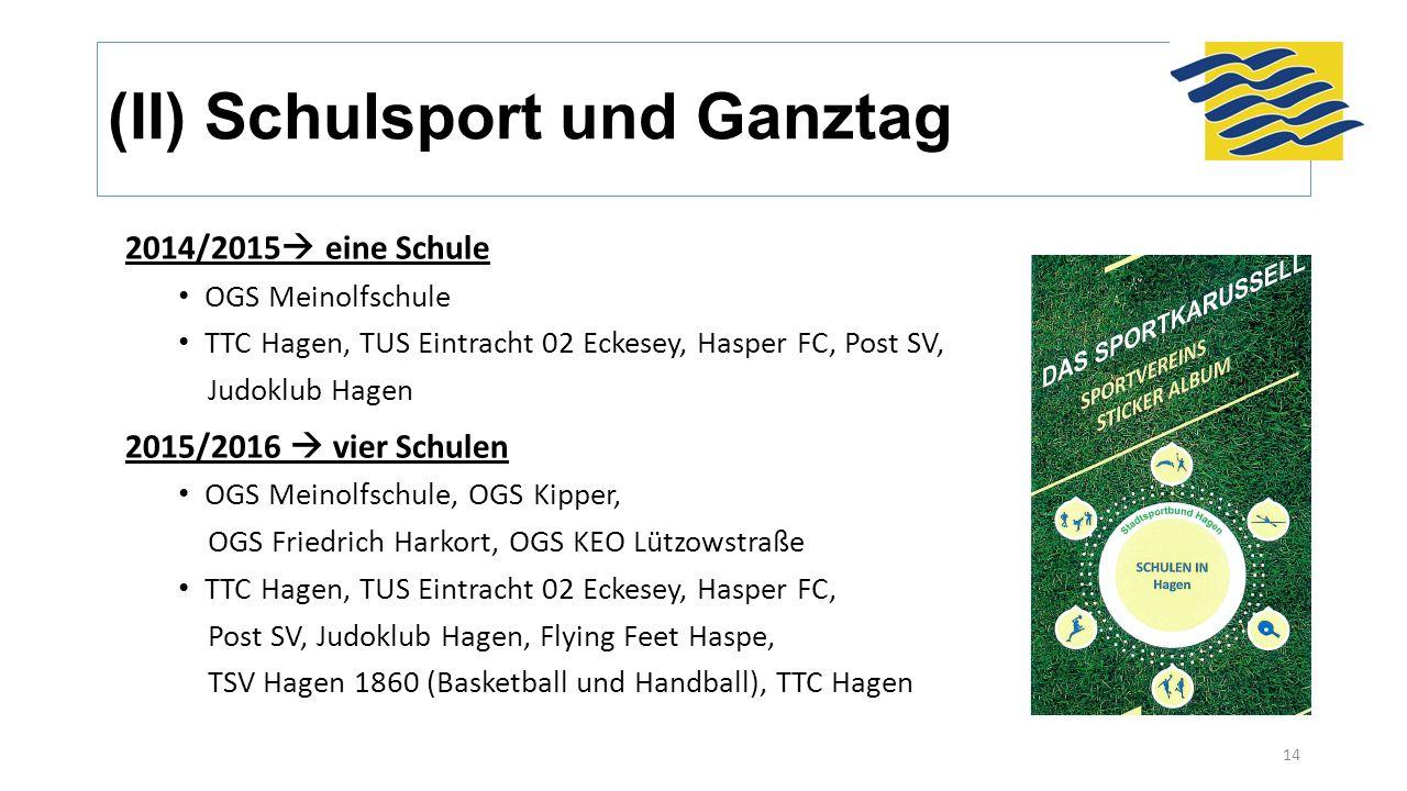 (II) Schulsport und Ganztag 14 2014/2015  eine Schule OGS Meinolfschule TTC Hagen, TUS Eintracht 02 Eckesey, Hasper FC, Post SV, Judoklub Hagen 2015/