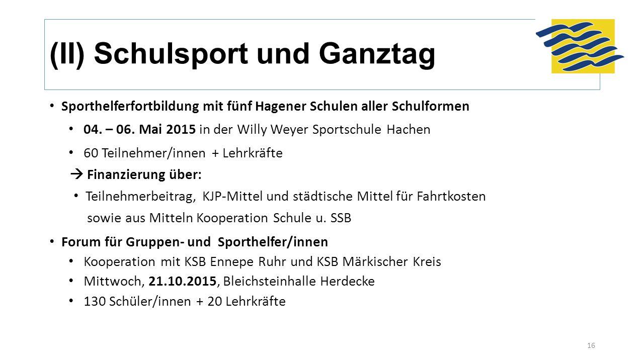 (II) Schulsport und Ganztag Sporthelferfortbildung mit fünf Hagener Schulen aller Schulformen 04. – 06. Mai 2015 in der Willy Weyer Sportschule Hachen
