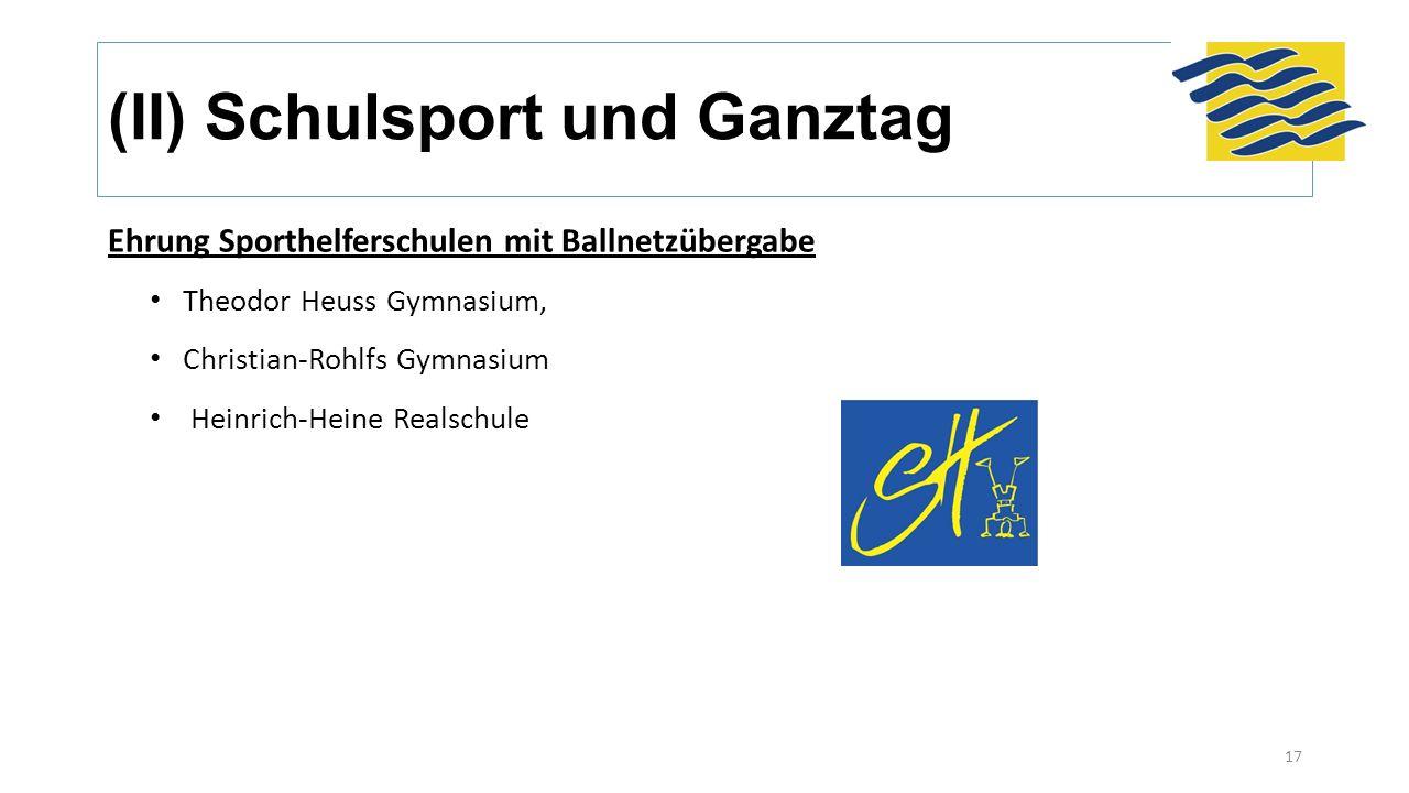 (II) Schulsport und Ganztag Ehrung Sporthelferschulen mit Ballnetzübergabe Theodor Heuss Gymnasium, Christian-Rohlfs Gymnasium Heinrich-Heine Realschu