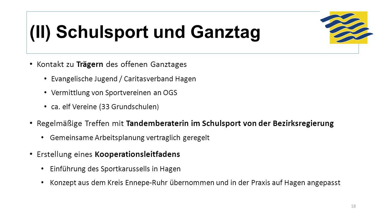 (II) Schulsport und Ganztag Kontakt zu Trägern des offenen Ganztages Evangelische Jugend / Caritasverband Hagen Vermittlung von Sportvereinen an OGS ca.