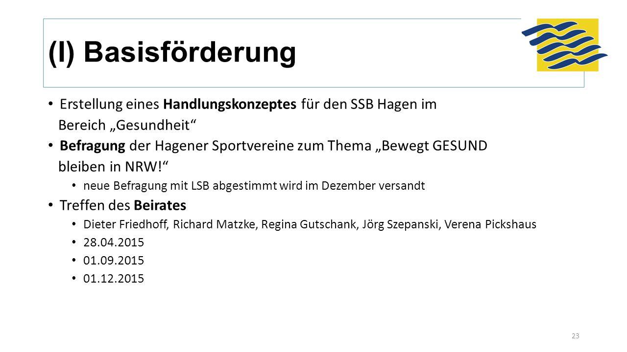 """(I) Basisförderung Erstellung eines Handlungskonzeptes für den SSB Hagen im Bereich """"Gesundheit"""" Befragung der Hagener Sportvereine zum Thema """"Bewegt"""